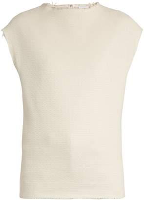 Raey Raw-edge woven cotton-blend top