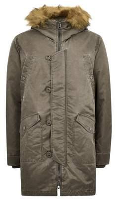 Topman Mens Khaki Acid Wash Faux Fur Hooded Jacket