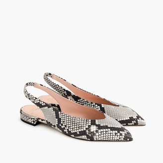 J.Crew Pointed-toe slingback flats in faux snakeskin
