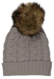Etereo Faux Fur Pom-Pom Cable-Knit Beanie