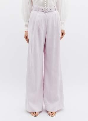 Zimmermann 'Corsage Tailored' belted linen wide leg pants