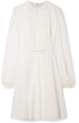 Giambattista Valli Lace-paneled Silk-crepe Dress - Ivory