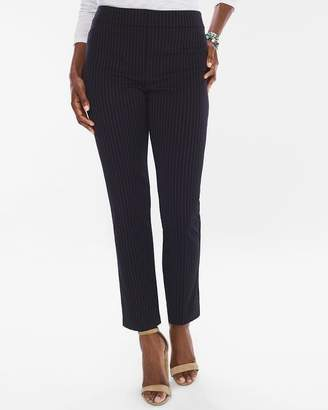 Pinstriped Ponte Tapered Ankle Pants