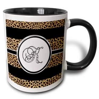 3dRose Elegant Cheetah Animal Print Monogram Letter K - Two Tone Black Mug, 11-ounce