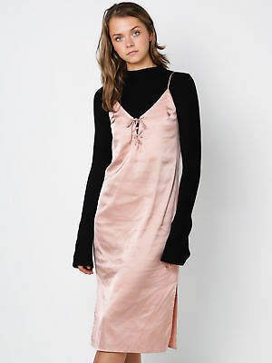 Lulu & Rose New & Rose Womens Rose Romy Lace Up Slip Dress In Peach Dresses Slip