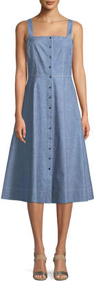 Lafayette 148 New York Astute Denim Fit-and-Flare Button Dress