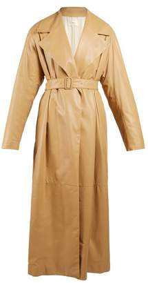 The Row Belted Oversized Leather Coat - Womens - Tan