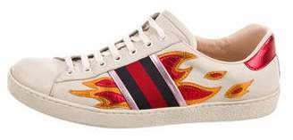 Gucci 2017 Ace Ayers-Trimmed Sneakers