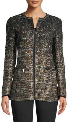 Lafayette 148 New York Karina Zip-Front Tweed Jacket w/ Tape Seams