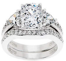 Diamonique 2.95 cttw 100-Facet Bridal Ring Set,