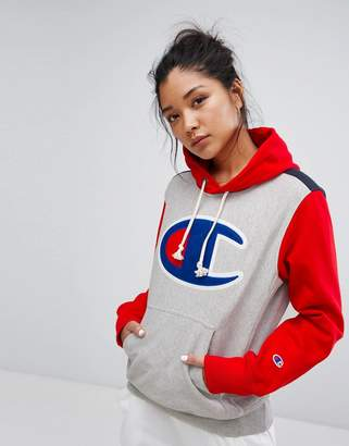 Champion Hoodie With Color Block & Front Logo $123 thestylecure.com