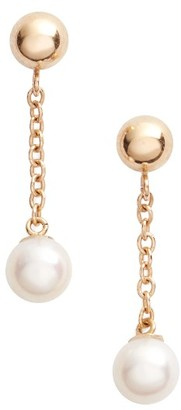 Women's Poppy Finch Linear Drop Pearl Earrings $215 thestylecure.com