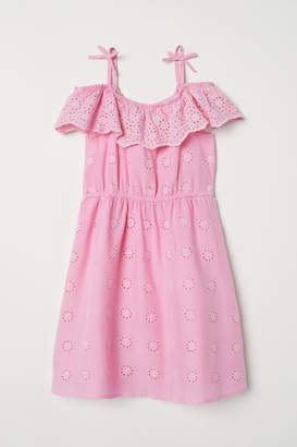 H&M Dress with Eyelet Embroidery - Pink