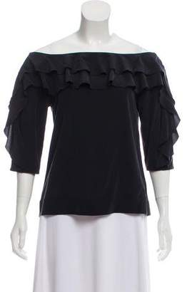L'Agence Off-The-Shoulder Ruffle Top