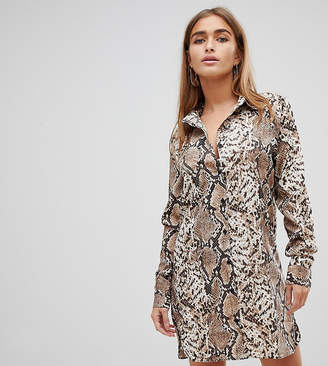 Missguided Petite shirt dress in snake print