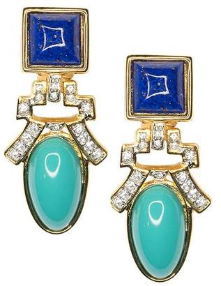 Kenneth Jay Lane Lapis And Turquoise Drop Clip Earrings