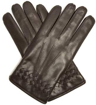 Bottega Veneta - Intrecciato Cuff Leather Gloves - Mens - Dark Brown