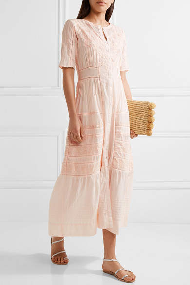 LoveShackFancy - Della Pointelle-trimmed Embroidered Cotton Maxi Dress - Pastel pink 2