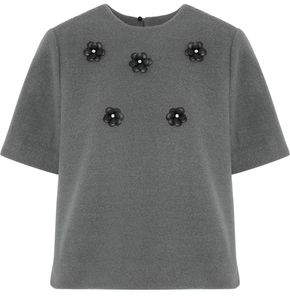 Raoul Floral And Crystal-Appliquéd Brushed Fleece Top