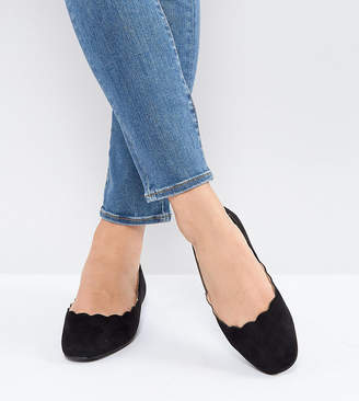 Lost Ink Wide Fit Whisper Black Scallop Ballet Flats