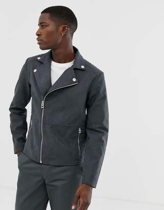 biker jacket in faux suede in grey