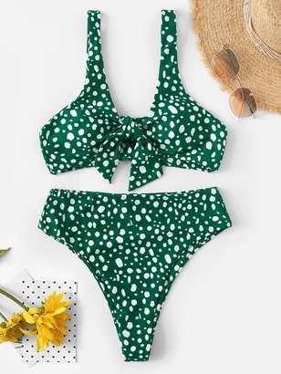Shein Dot Print Tie Front Top With High Waist Bikini