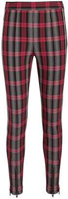 Alexander Wang Zip Detail Red Plaid Leggings