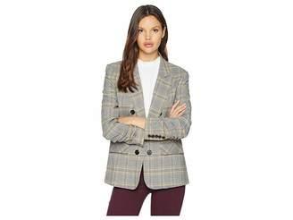 1 STATE 1.STATE Ruched Sleeve Menswear Plaid Blazer