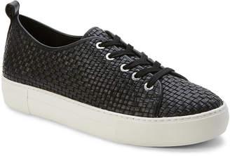 J/Slides Black Artsy Woven Leather Platform Sneakers