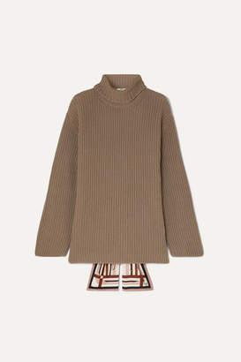 Fendi Silk-trimmed Ribbed Cashmere Turtleneck Sweater - Mushroom