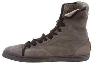 Lanvin Shearling High-Top Sneakers