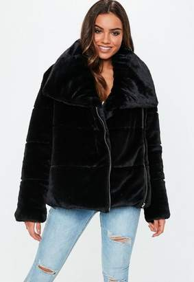 Missguided Black Oversized Faux Fur Puffer Jacket, Black