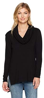 Michael Stars Women's Elevated French Terry Long Sleeve Cowl Hood Hi-Low Tunic