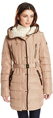 Kensie Women's Belted Down Coat with Faux Fur Lined Hood $140 thestylecure.com