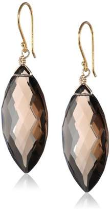 Gold-Plated Sterling Silver Smoky Quartz Faceted Marquise Drop Earrings