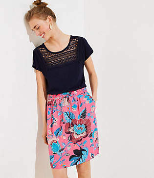 LOFT Tall Butterfly Garden Pocket Drawstring Skirt