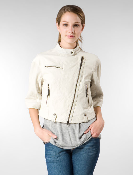 CNC by Costume National Cropped 3/4 Leather Jacket in White