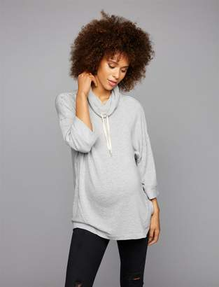 Splendid Pea Collection Drawstring Cowl Neck Maternity Pull Over