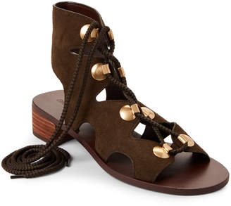 See by Chloe Beige & Khaki Suede Cutout Sandals