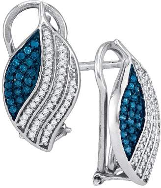 Micropave DazzlingRock Collection 1/2 Total Carat Weight BLUE DIAMOND MICRO-PAVE EARRING