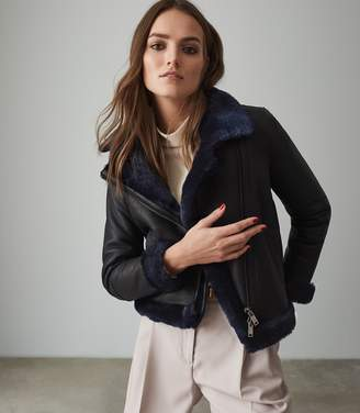 Reiss DAISY SHORT SHEARLING AVIATOR JACKET Navy