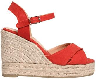 Castaner 100mm Cotton Canvas Wedge Sandals