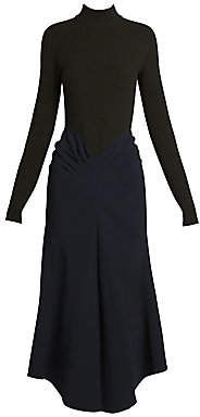 Victoria Beckham Women's Mockneck Draped Midi Dress