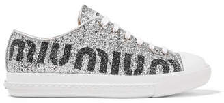 Miu Miu Logo-print Glittered Leather Sneakers - Silver