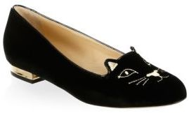 Charlotte Olympia Kitty Embroidered Velvet Flats $495 thestylecure.com