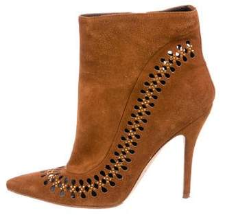 Brian Atwood Suede Embellished Ankle Boots