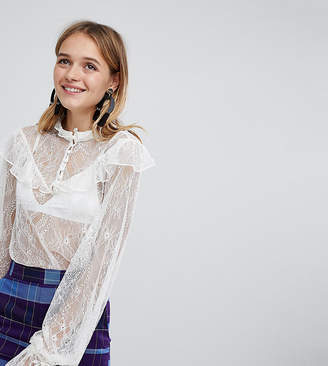 Monki Lace Button Up Blouse