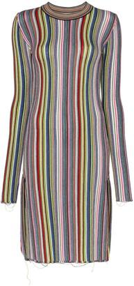 Marques Almeida Marques'Almeida long sleeve striped wool dress
