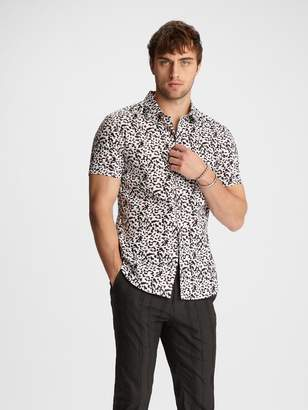 John Varvatos CLASSIC FIT SHORT SLEEVE SHIRT WITH ROUNDED COLLAR