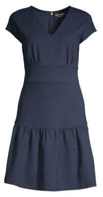 Kate Spade Ponte Cap-sleeve Flounce Dress